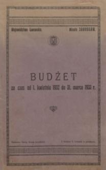 Budżet za czas od 1 kwietnia 1932 do 31 marca 1933 r.