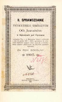 Sprawozdanie Prywatnego Gimnazjum OO. Jezuitów w Bąkowicach pod Chyrowem za rok szkolny 1895