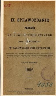 Sprawozdanie Zakładu Naukowo-Wychowawczego OO. Jezuitów w Bąkowicach pod Chyrowem za rok szkolny 1902