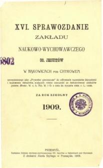 Sprawozdanie Zakładu Naukowo-Wychowawczego OO. Jezuitów w Bąkowicach pod Chyrowem za rok szkolny 1909