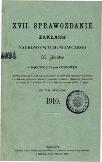 Sprawozdanie Zakładu Naukowo-Wychowawczego OO. Jezuitów w Bąkowicach pod Chyrowem za rok szkolny 1910