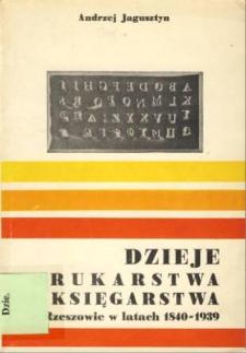 Dzieje drukarstwa i księgarstwa w Rzeszowie w latach 1840-1939