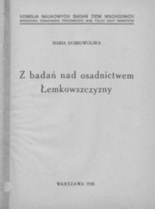 Z badań nad osadnictwem Łemkowszczyzny