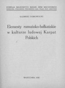 Elementy rumuńsko-bałkańskie w kulturze ludowej Karpat Polskich