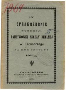 Sprawozdanie Dyrekcji Państwowej Szkoły Realnej w Tarnobrzegu za rok szkolny 1920/21