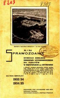 Sprawozdanie Dyrekcji Zakładu Naukowo-Wychowawczego OO. Jezuitów w Bąkowicach pod Chyrowem za rok szkolny 1933/34 i 1934/35