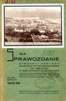 Sprawozdanie Dyrekcji Zakładu Naukowo-Wychowawczego OO. Jezuitów w Bąkowicach pod Chyrowem za rok szkolny 1935/36