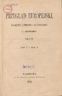 Przegląd Europejski, Naukowy, Literacki i Artystyczny. R.1. T. 1