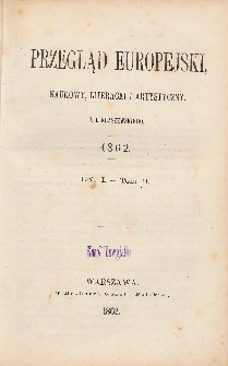 Przegląd Europejski, Naukowy, Literacki i Artystyczny. R. 1. T. 2