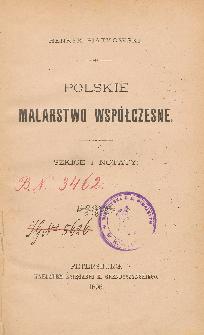 Polskie malarstwo współczesne : szkice i notaty