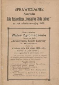 """Sprawozdanie Zarządu Koła Rzeszowskiego """"Towarzystwa Szkoły Ludowej"""" za rok administracyjny 1909"""
