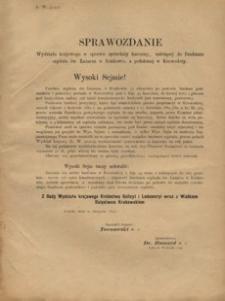Sprawozdanie Wydziału krajowego w sprawie sprzedaży karczmy, należącej do funduszu szpitala św. Łazarza w Krakowie, a położonej w Krowodrzy
