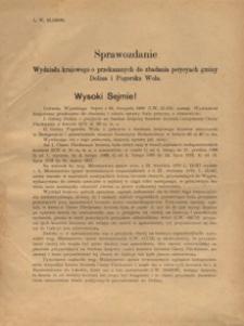 Sprawozdanie Wydziału krajowego o przekazanych do zbadania petycyach gminy Dolina i Pogorska Wola