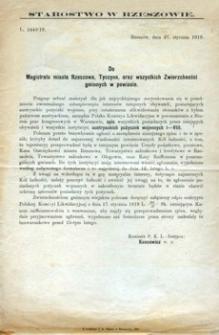 Do Magistratu miasta Rzeszowa, Tyczyna, oraz wszystkich Zwierzchności gminnych w powiecie