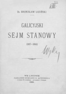 Galicyjski Sejm Stanowy : (1817-1845)