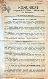 Komunikat Organizacyi Obrony Narodowej w Rzeszowie