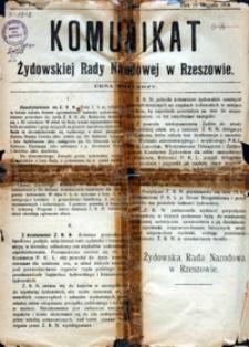 Komunikat Żydowskiej Rady Narodowej w Rzeszowie