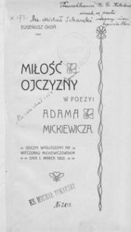 Miłość ojczyzny w poezyi Adama Mickiewicza
