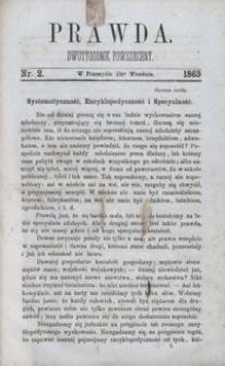 Prawda : dwutygodnik powszechny. 1865, nr 2
