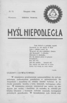Myśl Niepodległa 1908 nr 72