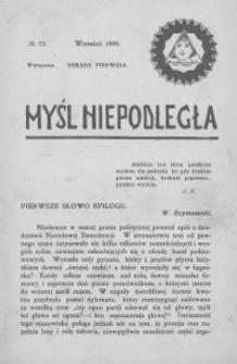 Myśl Niepodległa 1908 nr 73