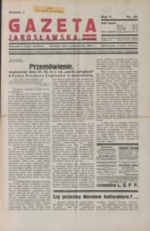 Gazeta Jarosławska : tygodnik poświęcony sprawom gospodarczo-społecznym miasta i powiatu. 1936, R. 5, nr 40-43 (październik)