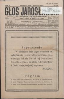 Głos Jarosławski : czasopismo katolicko-narodowe. 1928, R. 2, nr 34-38 (wrzesień)