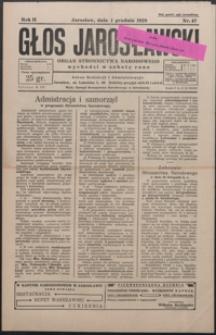 Głos Jarosławski : organ Stronnictwa Narodowego. 1928, R. 2, nr 47-51 (grudzień)