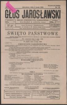 Głos Jarosławski : organ Stronnictwa Narodowego. 1929, R. 3, nr 18-21 (maj)