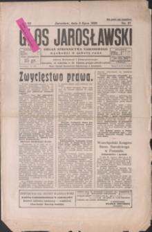 Głos Jarosławski : organ Stronnictwa Narodowego. 1929, R. 3, nr 27-30 (lipiec)