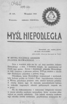 Myśl Niepodległa 1909 nr 109
