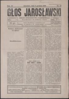 Głos Jarosławski : organ Stronnictwa Narodowego. 1930, R. 4, nr 49-52 (grudzień)