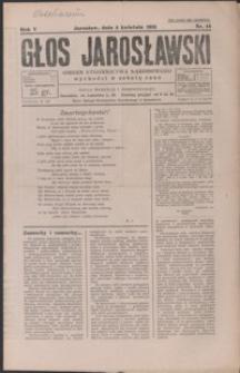 Głos Jarosławski : organ Stronnictwa Narodowego. 1931, R. 5, nr 14-17 (kwiecień)