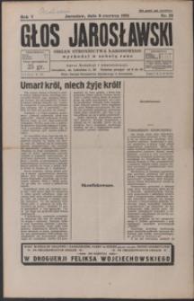 Głos Jarosławski : organ Stronnictwa Narodowego. 1931, R. 5, nr 23-26 (czerwiec)