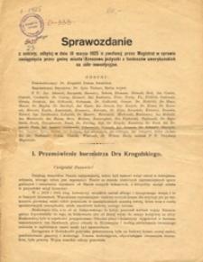 Sprawozdanie z ankiety, odbytej w dniu 18 marca 1925 a zwołanej przez Magistrat w sprawie zaciągnięcia przez gminę miasta Rzeszowa pożyczki z funduszów amerykańskich na cele inwestycyjne