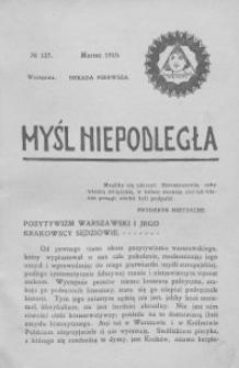 Myśl Niepodległa 1910 nr 127