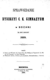 Sprawozdanie Dyrekcyi C. K. Gimnazyum w Bochni za rok szkolny 1889
