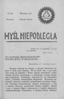 Myśl Niepodległa 1912 nr 218