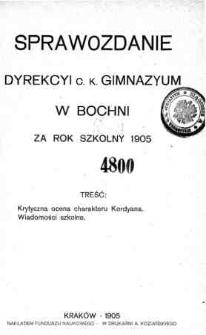 Sprawozdanie Dyrekcyi C. K. Gimnazyum w Bochni za rok szkolny 1905