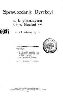 Sprawozdanie Dyrekcyi C. K. Gimnazyum w Bochni za rok szkolny 1910