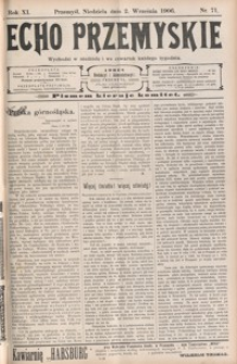 Echo Przemyskie : organ Stronnictwa Katolicko-Narodowego. 1906, R. 11, nr 71-79 (wrzesień)