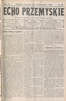 Echo Przemyskie : organ Stronnictwa Katolicko-Narodowego. 1906, R. 11, nr 80-87 (październik)