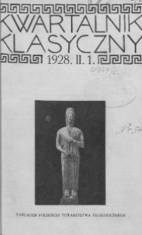 Kwartalnik Klasyczny. 1928 R.2 Z.1