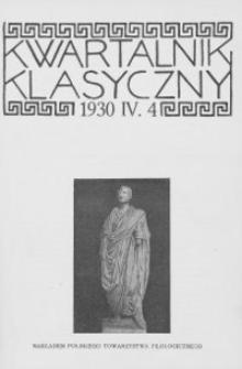 Kwartalnik Klasyczny. 1930 R.4 Z.4