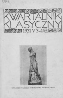 Kwartalnik Klasyczny. 1931 R.5 Z.3 - 4