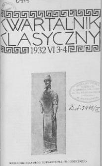Kwartalnik Klasyczny. 1932 R.6 Z.3 - 4