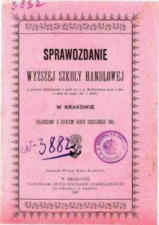 Sprawozdanie Wyższej Szkoły Handlowej w Krakowie za rok szkolny 1901