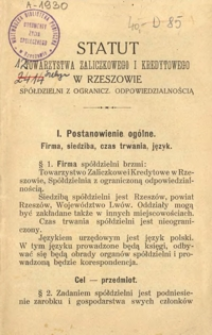 Statut Towarzystwa Zaliczkowego i Kredytowego w Rzeszowie Spółdzielni z ogranicz. odpowiedzialnością