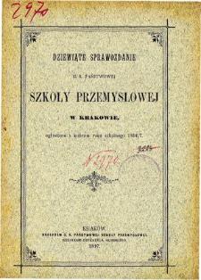 Sprawozdanie C. K. Państwowej Szkoły Przemysłowej w Krakowie za rok szkolny 1896/7