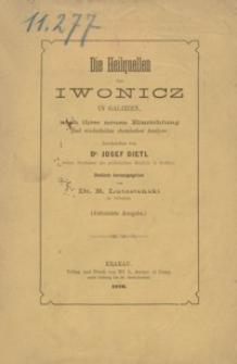 Die Heilquellen von Iwonicz in Galizien, nach ihrer neuen Einrichtung und wiederholter chemischer Analyse